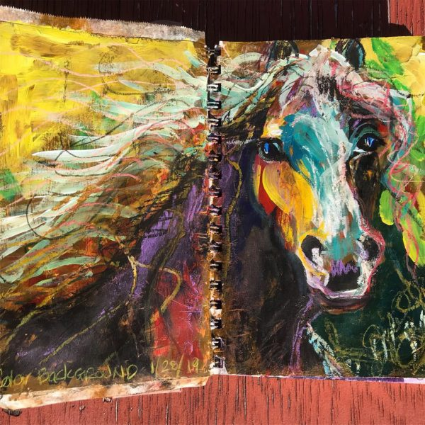 Mixed Media artwork of a horse by Julie the Artist